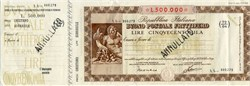 Repubblica Italiana Buono Postale Fruttifero 500.000 Lire - Italian Postal Money Order 1926