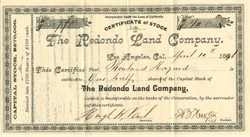 Redondo Land Company (Redondo Beach ) - California 1891