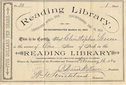 Reading Library - Pennsylvania 1884