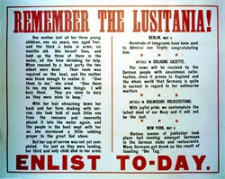 REMEMBER THE LUSITANIA (Large Broadside / Original Poster over 102 years old) - ENLIST TODAY- WWI 1915