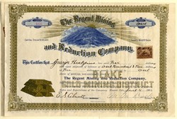 Regent Mining and Reduction Company - Blake Gold Mining District - Colorado 1902