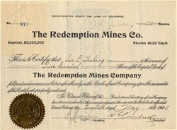 Redemption Mines Co. - Mohave. Chloride. Organized in Colorado - 1906