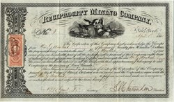 Reciprocity Mining Company (signed by  Lucius E. Chittenden, who was the Register of U. S. Treasury during Lincoln administration) - East Canada /  New York 1865