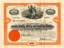Redman Mining, Milling and Smelting Company (Indian Vignette)  - Arizona 1907