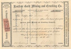 Renfrew Gold Mining and Crushing Co. 1865 - Massachusettes