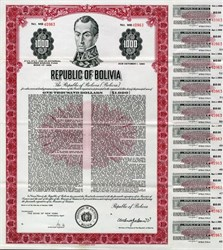 Republic of Bolivia Uncancelled Bond - 1968
