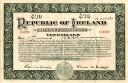 Republic of Ireland with Eamon de Valera as President - Ireland 1920