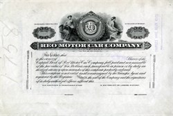 Reo Motor Car Company (RARE Specimen Proof Certificate ) - Michigan 1925