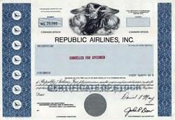 Republic Airlines, Inc. Specimen Stock Certificate - Wisconsin 1981
