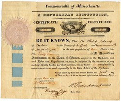 Republican Institution stock certificate signed by Revolutionary War General Henry Dearborn as President 1821 - Boston