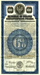 Republic of Poland - U.S. Dollar Gold Bond -  1920