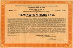 Remington Rand Inc. (Fractional Share Exchange Certificate) - UNIVAC Computer Maker