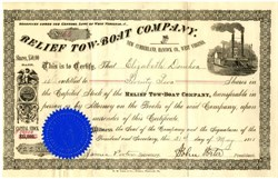 Relief Tow-Boat Company (Steamboat vignette) - New Cumberland, West Virginia - 1888
