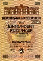 Reichsbank Anteilschein (German Reich Bank )  - Berlin, Germany 1925