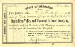 Republican Valley and Wyoming Railroad Company - Nebraska 1921