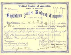Republican Valley Railroad Company - Nebraska 1921