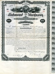 Richmond and Alleghany Railroad Company 2nd Mortgage $1000 Gold Bond printed by American Banknote Company ( Natural Bridge in vignette) - Virginia 1881