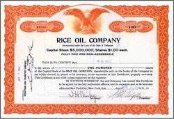 Rice Oil Company signed by Con Artist George Graham Rice 1917