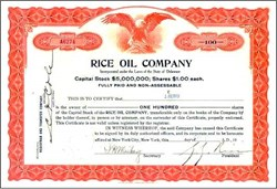 Rice Oil Company Signed by Con Artist George Graham Rice - Delaware, 1918