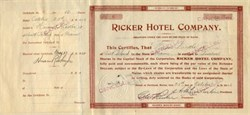Ricker Hotel Company ( Mount Kineo House ) issued to Hiram Riker, founder of Poland Spring - Maine 1926