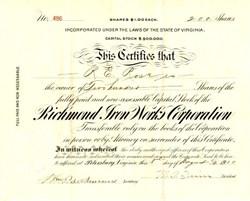 Richmond Iron Works Corporation (made The Virginian automobile ) - Virginia 1910