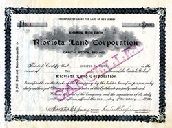 Riovista Land Corporation (Certificate #1)  - New Jersey 1922