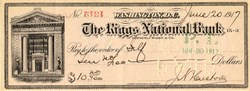 Riggs National Bank Check signed by Treasurer of the United States, James N. Huston - Washington, D.C. 1917
