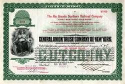 Rio Grande Southern Railroad Company $1000 Certificate of Deposit (ABN) - 1931