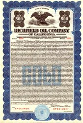 Richfield Oil Company of California 1928 - Convertible Gold Bond ( ARCO now BP )