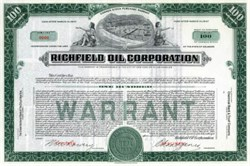 Richfield Oil Warrant Specimen - 1937