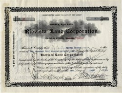 Riovista Land Corporation signed by famous Sugar Baron Manuel Rionda - 1934