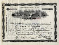 Riovista Land Corporation signed by famous Sugar Baron Manuel Rionda - 1934