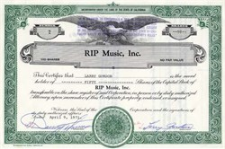 RIP Music, Inc. - California 1971 signed by Danny Thomas and Larry Gordon
