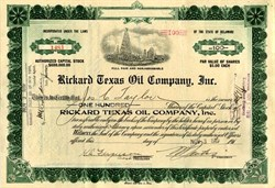 "Rickard Texas Oil Company, Inc (Named after Famous Boxing Promoter and New York Rangers' Founder, George Lewis ""Tex"" Rickard) - 1920"
