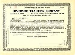 Riverside Traction Company - New Jersey 1909