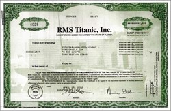 RMS Titanic, Inc.  - Picture of Sunken Titanic Ship that sank on 15 April 1912 on Certificate