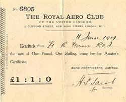 Royal Aero Club of the United Kingdom - Aviator's Certificate - London 1919