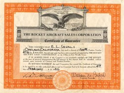Rocket Aircraft Sales Corporation - Fort Worth, Texas 1946