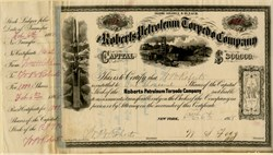 "Roberts Petroleum Torpedo Company signed 4 times by Co-Founder, Walter B. Roberts - Scarce Uncancelled - (Roberts' ""Exploding Torpedo"" was the birth of modern-day shale fracking) - 1868"