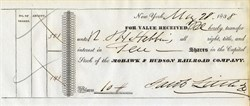 Jacob Little signed  Certificate - Original Great Bear of Wall Street  - 1838