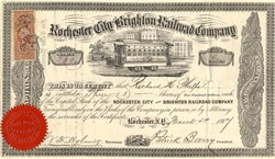 Rochester City and Brighton Railroad Company (Horse Railroad)  - New York 1867