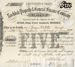 Rochdale Property & General Finance Company 1865