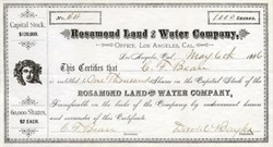 Rosamond Land and Water Company - Los Angeles, California 1886