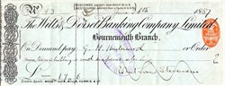 Robert Lewis Stevenson signed check - 1887