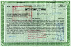 Rolls-Royce, Limited - ADR Shares 1971