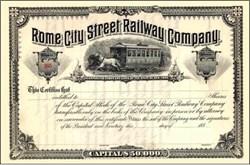 Rome City Street Railway Company 1880s - New York - Horse Trolley Vignette
