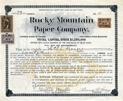 Rocky Mountain Paper Company - New York 1901