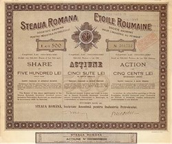 Romanian Star Oil Company Stock Certificate