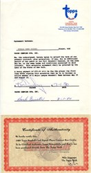Player Contract with Topps Chewing Gum Company handsigned by Ron Guidry - 1980