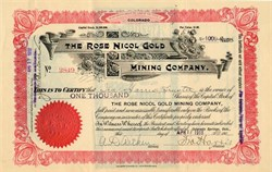 Rose Nicol Gold Mining Company - Cripple Creek, Colorado 1918